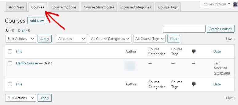Opciones del creador de cursos LearnDash