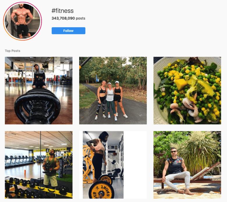 #Fitness Hashtag Instagram Captura de pantalla