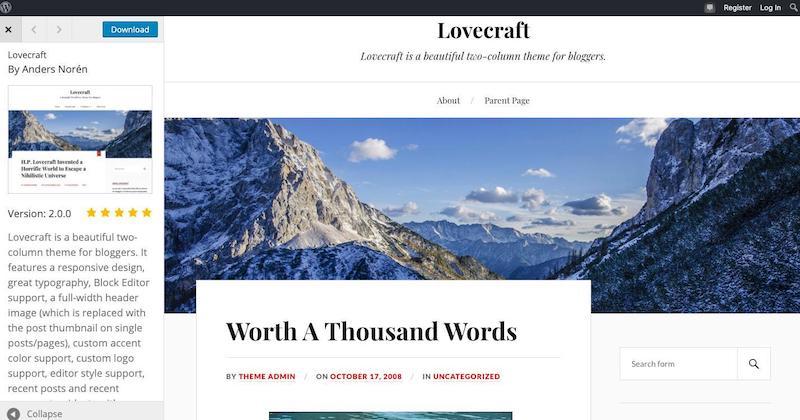Tema de WordPress de Lovecraft