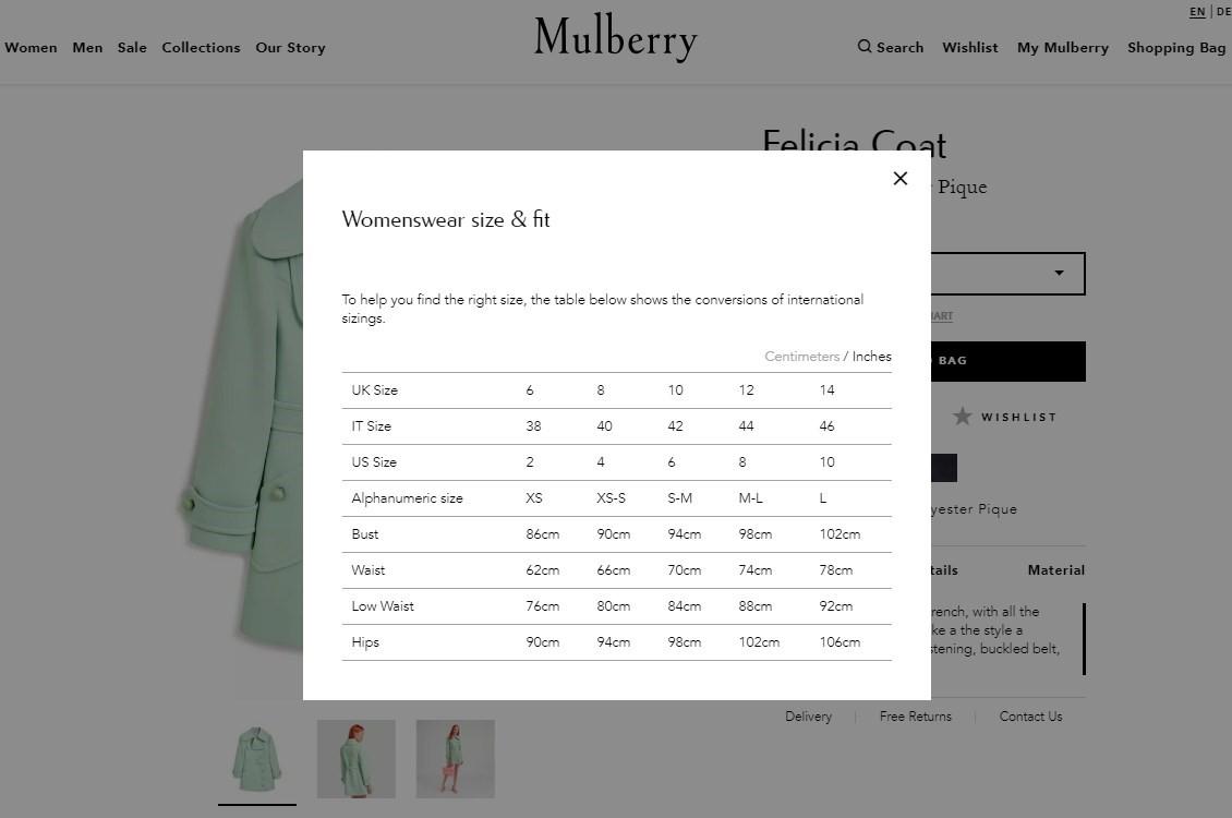 Captura de pantalla de cómo Mulberry usó ventanas emergentes para agregar descripciones y detalles de productos para ahorrar tiempo de desplazamiento