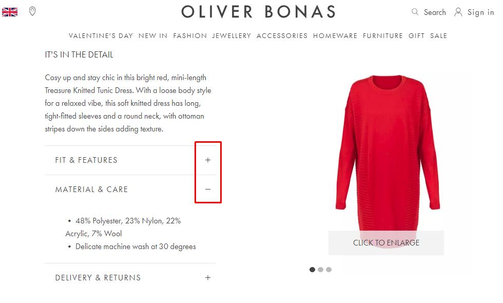 Captura de pantalla de cómo Oliver implementó una sección de lectura expandible en la página