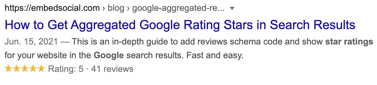 Publicación de calificación de estrellas de Google con calificaciones de estrellas presentes en el motor de búsqueda.