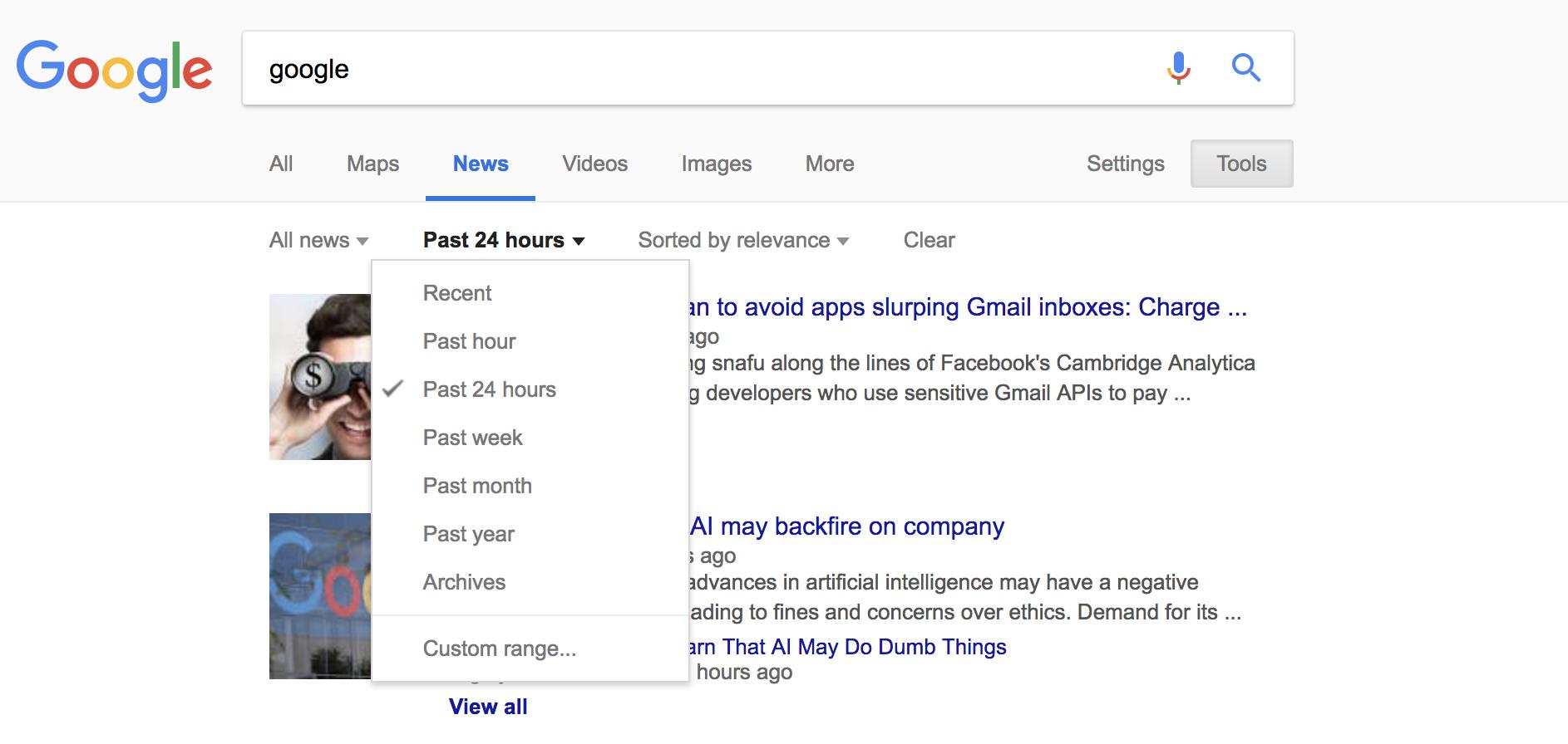captura de pantalla de Google News filtrada por las últimas 24 horas o la semana pasada, que se utilizará al encontrar contenido relevante para la creación de enlaces