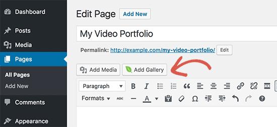 Agregue la galería de su portafolio de videos