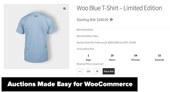 Subastas fáciles para WooCommerce