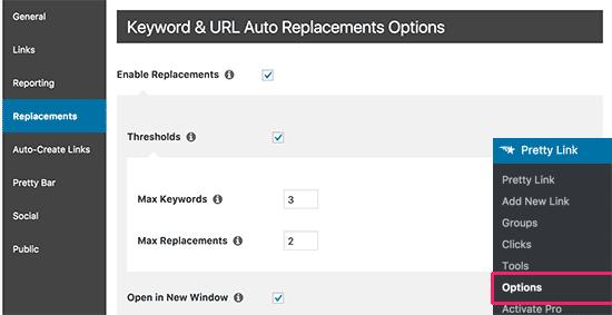 Opciones de enlace automático