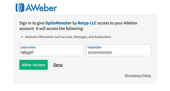 AWeber permitir el acceso