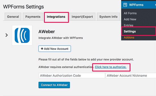 Integrando AWeber a WPForms