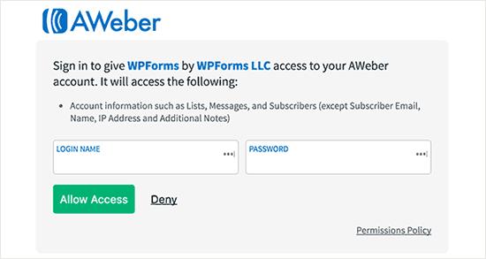 Inicie sesión en su cuenta AWeber