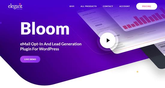 El complemento Bloom en el sitio web de Elegant Themes
