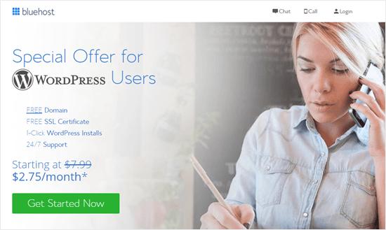 La oferta especial de Bluehost para lectores de WPBeginner