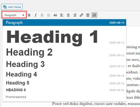Crear un encabezado haciendo clic en el menú desplegable Párrafo en el editor clásico