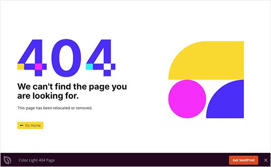 Página de error de luz de color