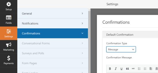Configuración de confirmaciones en WPForms