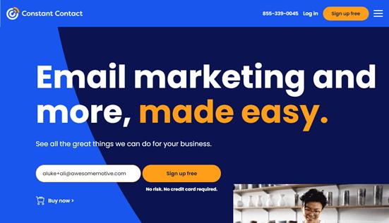 El sitio web de Constant Contact