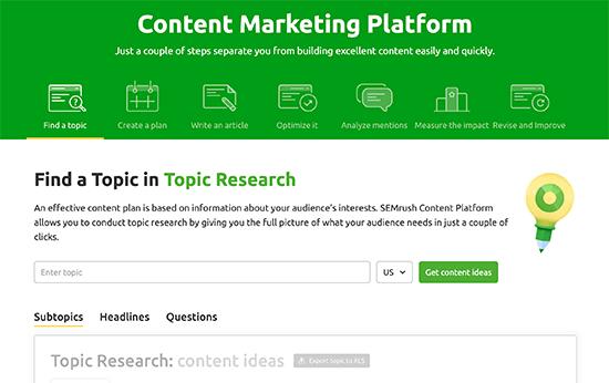 Panel de control de marketing de contenido en Semrush