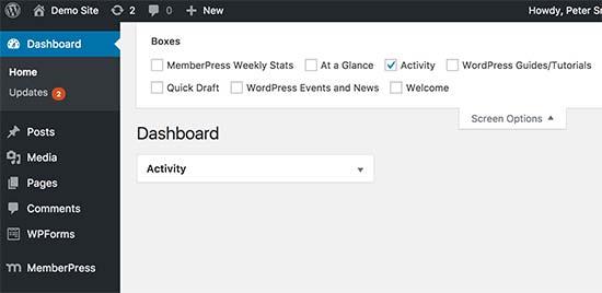 Limpiar la pantalla del tablero en WordPress