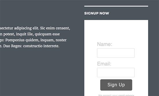 Formulario básico de registro de correo electrónico AWeber en WordPress