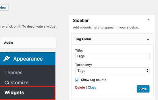 Widget de nube de etiquetas predeterminado en WordPress