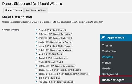 Desactivar la configuración de widgets