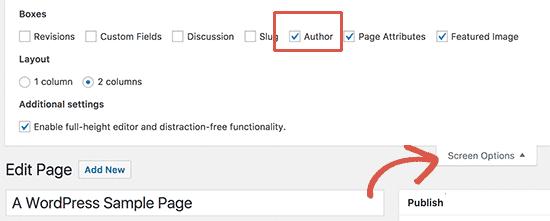 Mostrar meta cuadro de autor en la pantalla de edición de página