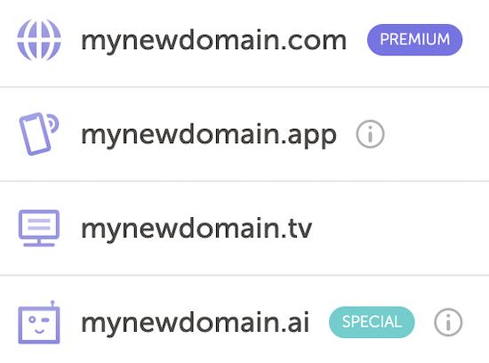 Ejemplo de lista de extensiones de nombre de dominio