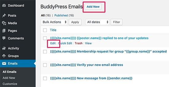 Editar notificaciones por correo electrónico en BuddyPress