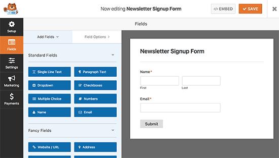Editando su formulario de suscripción al boletín