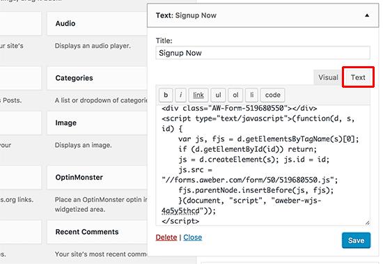 Pegar el código del formulario web AWeber en el widget de texto de WordPress