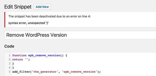 Manejo de errores en su fragmento de código personalizado