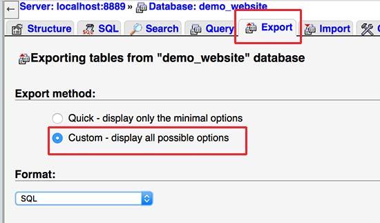 Exportar base de datos usando phpMyAdmin