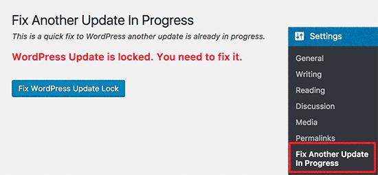 Arreglar el bloqueo de actualización de WordPress