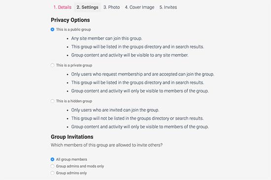 Configuración de privacidad del grupo