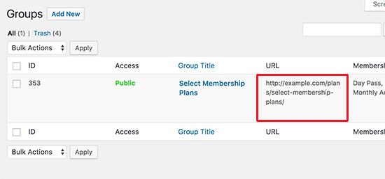 URL de grupo