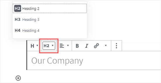 Seleccionar el tamaño de su encabezado en el editor de bloques
