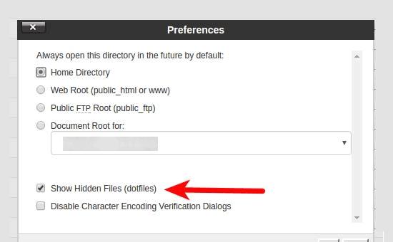 Mostrar archivos ocultos en el administrador de archivos cPanel