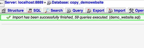 Base de datos de WordPress importada con éxito
