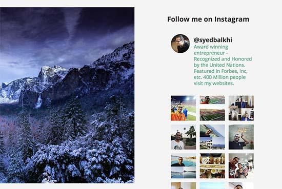 Vista previa de la barra lateral de Instagram