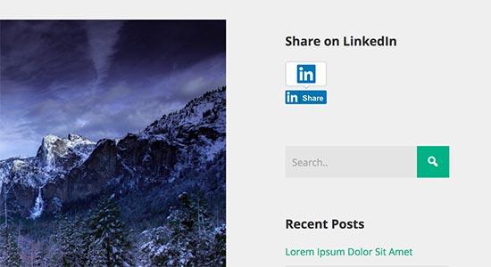 Botón para compartir de LinkedIn en la barra lateral