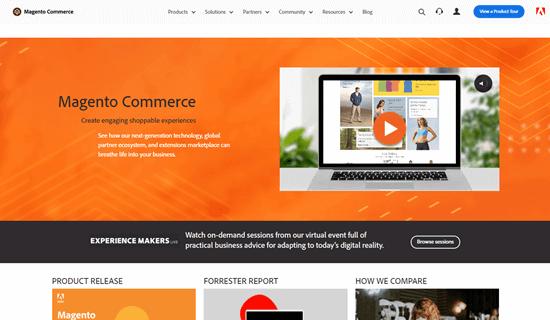 El sitio web de Magento