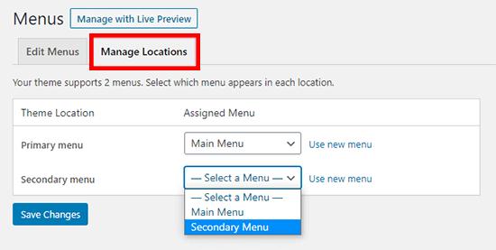 administrar las ubicaciones del menú en WordPress