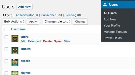 Administrar cuentas de usuario