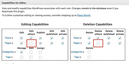 Modificar la función del usuario del editor