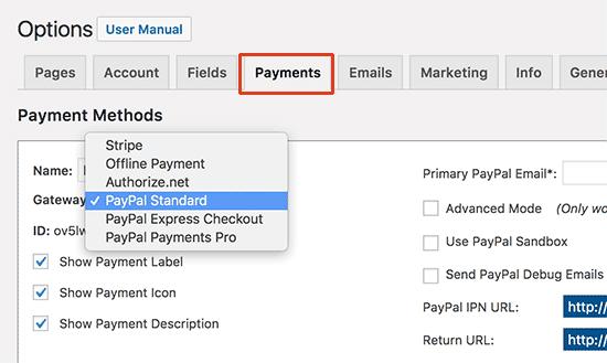 Configurar pasarela de pago