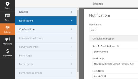 Configuración de notificaciones en WPForms