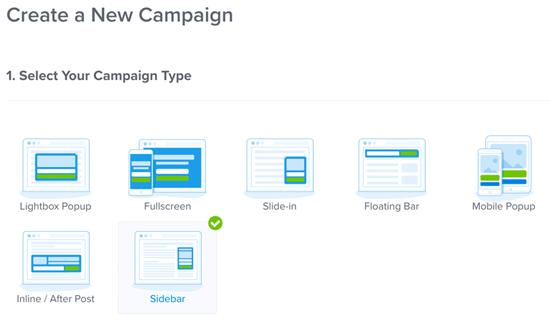 OptinMonster Crear nueva campaña