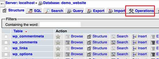 Operaciones de base de datos en mi phpmyadmin