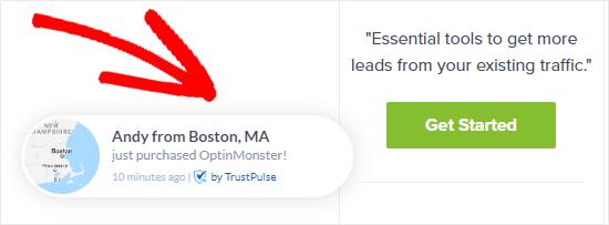 Un ejemplo de una notificación TrustPulse en el sitio de OptinMonster