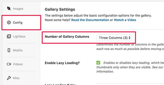 Seleccione el número de columnas