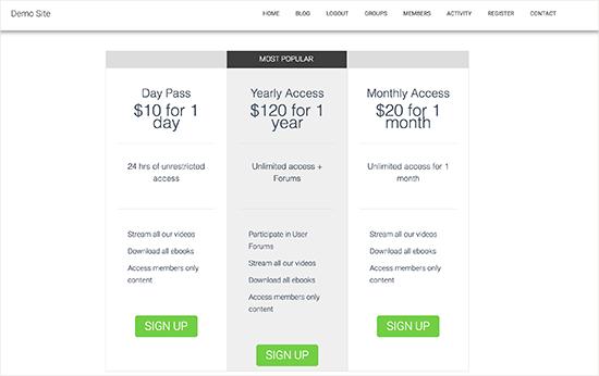 Página de precios y planes